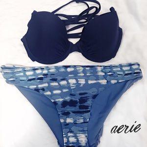 🆕 Aerie / Navy and Tie Dye Bikini 👙 ☀️